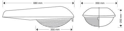 Luminaria OV-15F medidas
