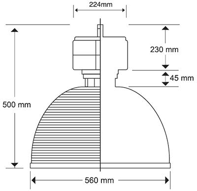 Campana de Acrílico Prismático 22 pulgadas medida