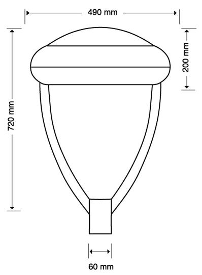 LUMINARIA PUNTA DE POSTE LED OSMIO 140 WATTS