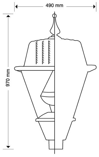 LUMINARIA PUNTA DE POSTE LED CROCOVIA 105 WATTS